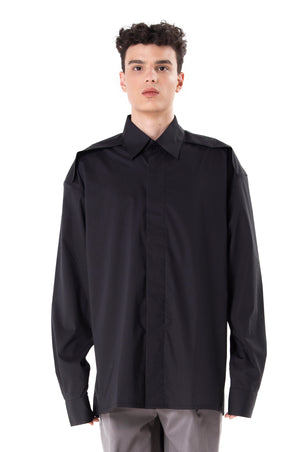 Black Long Sleeves Oversized Shirt