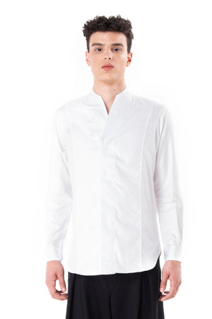 White Panel Collarless Shirt
