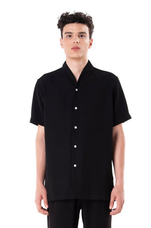Black Short Sleeves Collarless Shirt Part 3