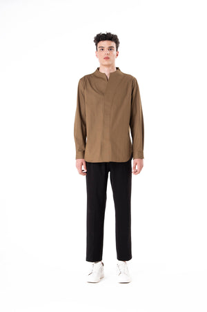 Green Olive Colarless long Sleeves Shirt Part I