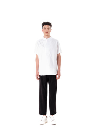 White Collarless pt.I Short Sleeves Shirt