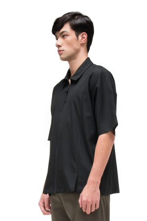 BLACK OVERSIZED SHIRT WITH ZIPPER OPENING