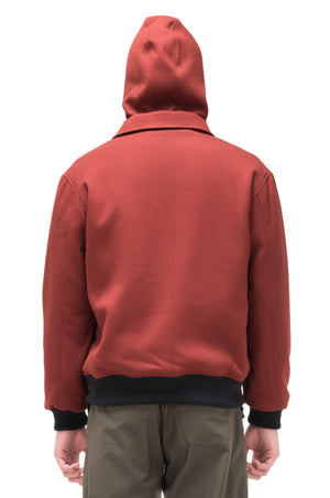RED BRICK BOMBER JACKET WITH DETACHABLE HOODIE