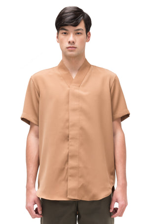 CAMEL COLLARLESS PT.4 SHORT SLEEVES SHIRT