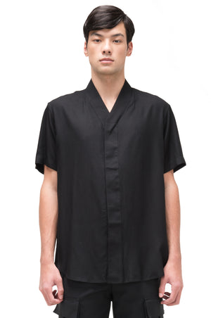 BLACK COLLARLESS SHORT SLEEVES SHIRT PT. 4