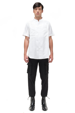 WHITE COLLARLESS SHIRT PART I SHORTSLEEVES WITH POCKETS
