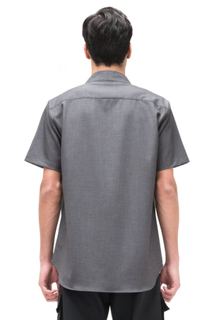 GREY COLLARLESS PART I SHORTSLEEVES SHIRT WITH POCKETS