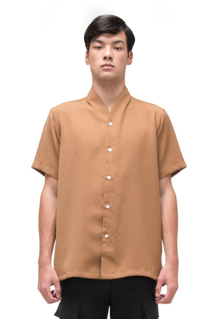 CAMEL COLLARLESS PART 3 SHORT SLEEVES SHIRT