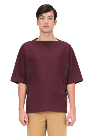 BURGUNDY OVERSIZED SHIRT WITH ZIPPER ON SIDES