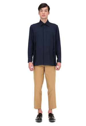 LOOSE NAVY SHIRT WITH ZIPPER