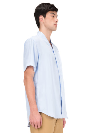BLUE COLLARLESS PART 4 SHORT SLEEVES SHIRT