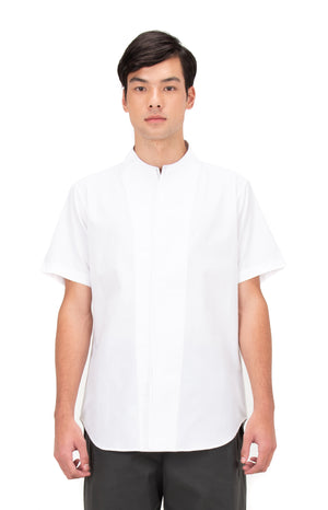 WHITE LAYERED COLLARLESS PART 1 SHORT SLEEVES SHIRT