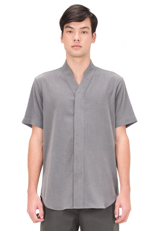 GREY COLLARLESS SHORT SLEEVES PT. 4 SHIRT