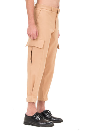 CREAM CARGO PANTS WITH LEG OPENING ADJUSTER