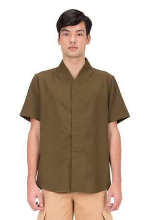 GREEN OLIVE COLLARLESS PART 5 SHORT SLEEVES SHIRT