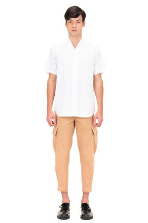 WHITE COLLARLESS PART 4 SHORT SLEEVES SHIRT