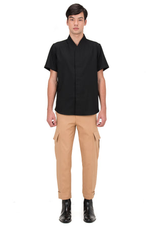 BLACK COLLARLESS PART 5 SHORT SLEEVES SHIRT