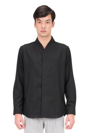 BLACK COLLARLESS PART 5 LONGSLEEVES SHIRT