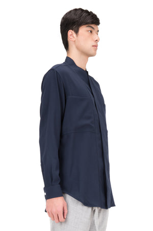 NAVY COLLARLESS SHIRT PART I LONGSLEEVES WITH POCKETS