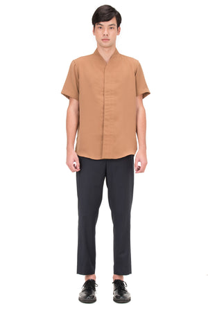 CAMEL COLLARLESS PT.5 SHORT SLEEVES SHIRT