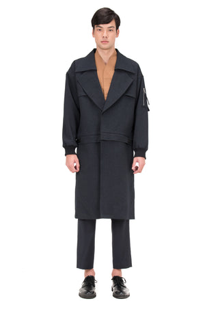 BLUE NAVY DETACHABLE COAT