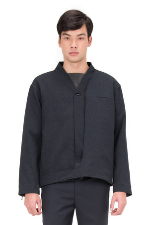 BLUE NAVY LAYERED COLARLESS JACKET