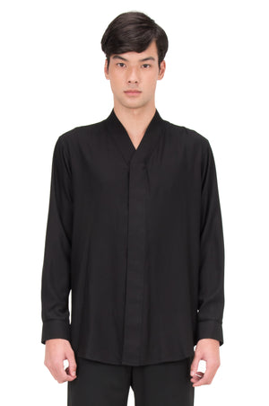 BLACK COLLARLESS LONG SLEEVES SHIRT PT. 4