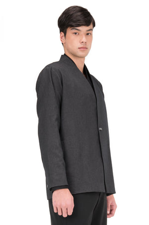 DARK GREY COLLARLESS OUTER