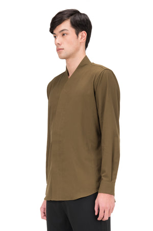 GREEN OLIVE COLLARLESS PART 5 LONG SLEEVES SHIRT