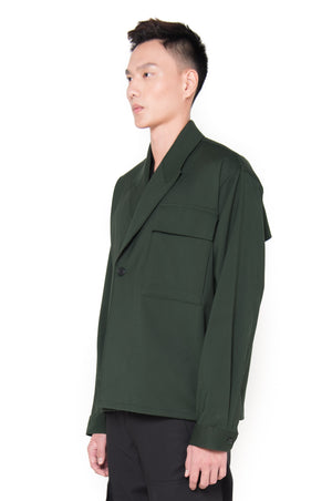 OVERSIZED GREEN DOUBLE BREASTED OUTER