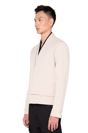 BEIGE LAYERED COLARLESS JACKET
