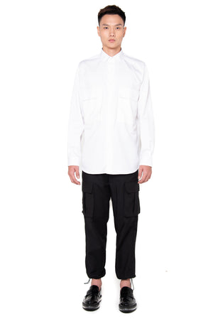 White Oversized Shirt with Pocket and Side Zipper