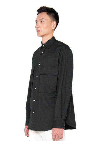 Dark Green Oversized Shirt with Pocket and Side Zipper