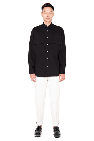 Black Oversized Shirt with Pocket and Side Zipper