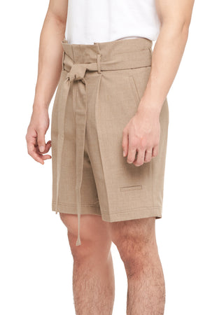 BEIGE SHORT PANTS WITH PLEATS AND BELT