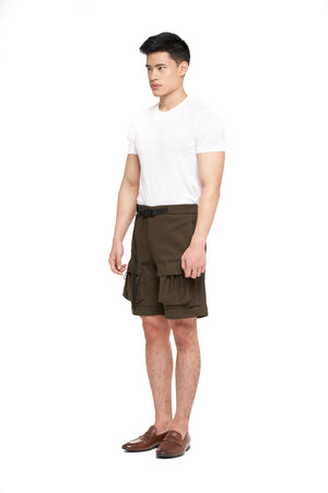 Green Olive Short Pants with Pocket