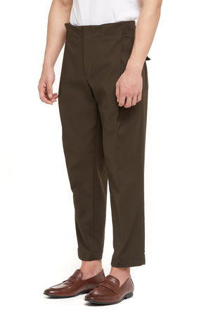Waistbandless Olive Pants With Snap Button