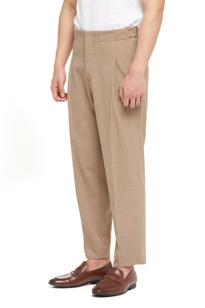 Beige Pleats Pants with Adjuster (PRE ORDER)