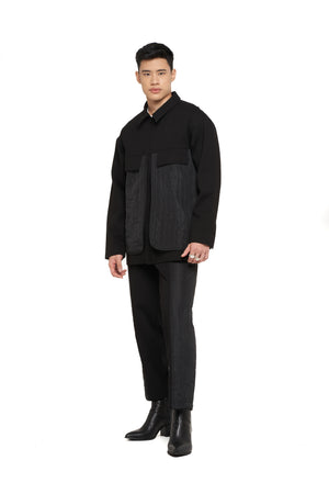 Black Jacket With Quilted Detail