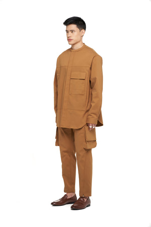 Camel Collarless Oversized Shirt with Pocket and Side Zipper
