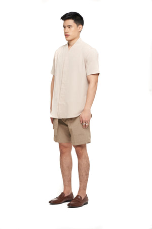 BEIGE COLLARLESS PART 5 SHORT SLEEVES SHIRT