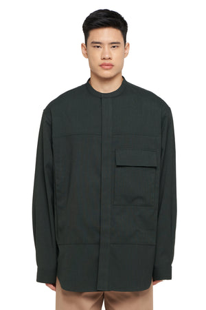 Dark Green Collarless Oversized Shirt with Pocket and Side Zipper