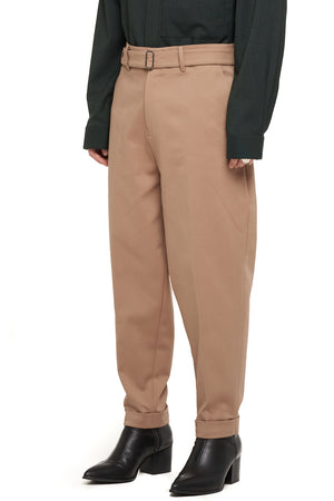 Brown Baggy Pants with Belt