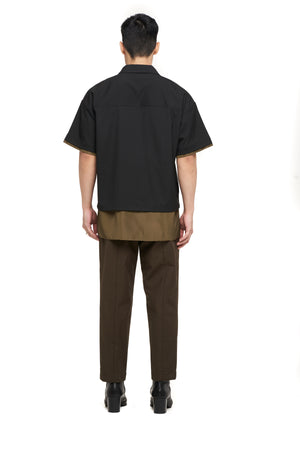 Black Olive Nylon Layered Shirt