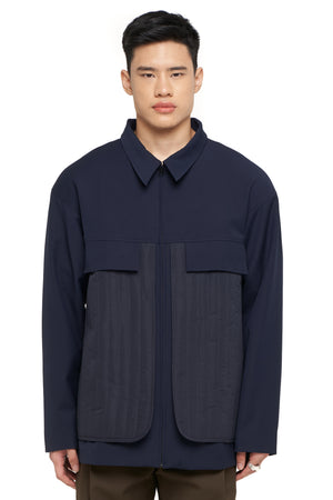 Navy Jacket With Quilted Detail