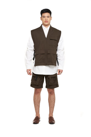 Green Olive Vest With Side Buckle