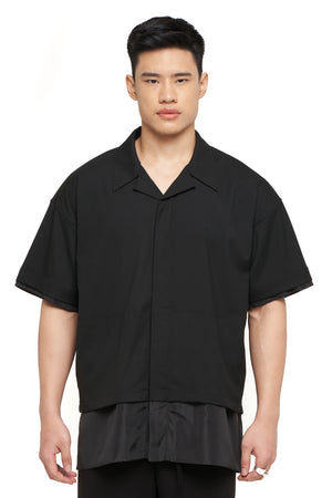Black on Black Nylon Layered Shirt