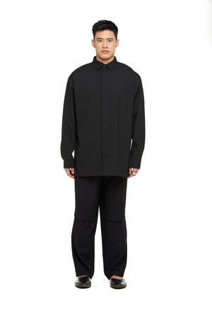 Black Oversized Shirt / Over Shirt with Adjuster on Waist