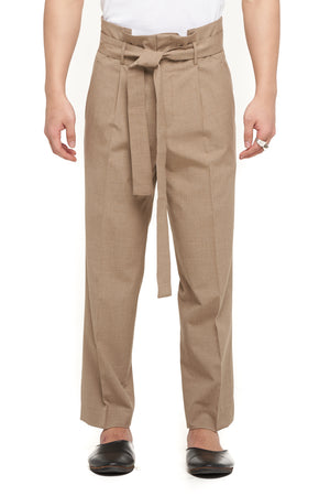 Beige Pleated Pants With Belt