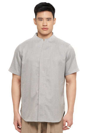 Light Grey Short Sleeves Collarless Shirt Part 1